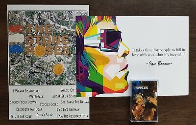 Ian Brown Ripples Cassette Album & TWO Limited Edition PRINTS The Stone Roses