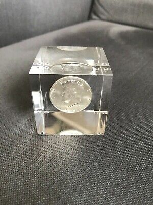 """Mint 1964 Kennedy Half Dollar in 2"""" Lucite Square"""
