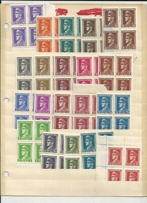 Croatia-Ndh-Wwii-Complete Pavelich Issue In Blocks Of 4-Mnh