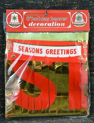 "Vtg ""Seasons Greetings"" 6 ft Holiday Banner NEW in Pkg Made in Japan Commodore"