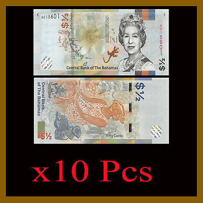 Bahamas 1/2 Dollar (Half 50 Cents) x 10 Pcs, 2019 P-New Flower Lizard QEII Unc