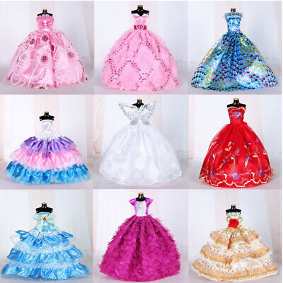 9PCS Wedding Party Dress Princess Clothes Handmade Outfit for 12in Barbie Doll