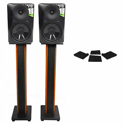 """(2) Mackie MR824 8"""" 85w Studio Monitor Speakers+36"""" Stands+Isolation Pads"""