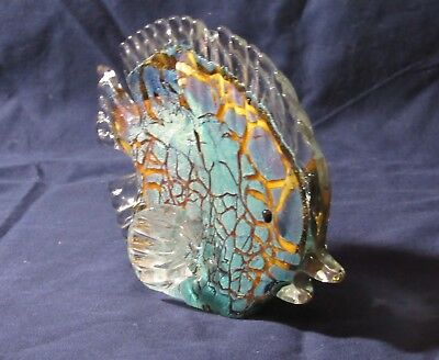 Hand Blown Art Glass Tropical Anglel Fish Multi Colors