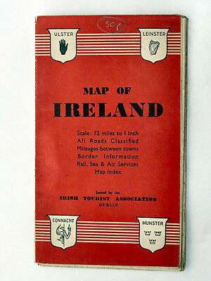 1947 Map of Ireland  The Irish Tourist Association Dublin vintage original