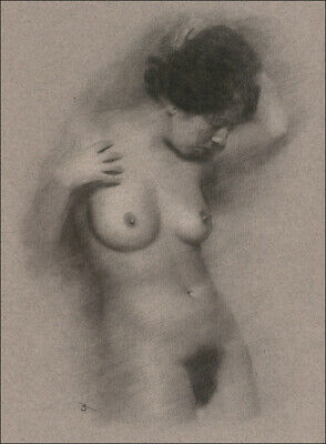 Female Nude DRAWING ORIGINAL Charcoal Art Classical Naked lady signed NO RESERVE