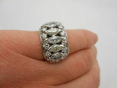 WOW Massive Antique 14k White Gold Marquise Diamond Cocktail Band Ring Size 7