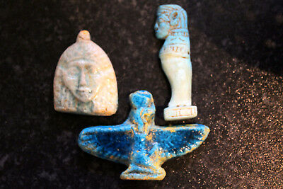 3x Egyptian Faience Amulets - Glazed Terracotta Stone