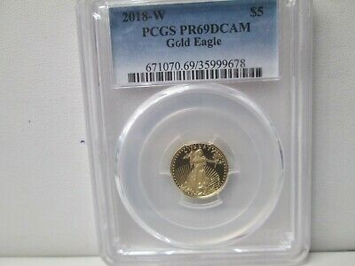 2018 W American Eagle Gold 1/10 Ounce 5 Dollar Coin PCGS PR69 DCAM