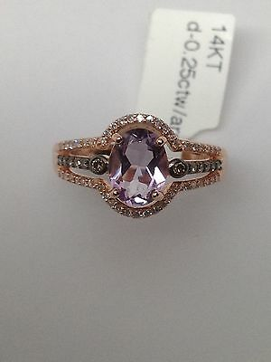 14K or Rose Forme Ovale Améthyste Champagne et Blanc Bague Diamant Taille 7 Neuf