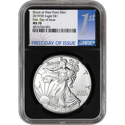 2019-(W) American Silver Eagle - NGC MS70 - First Day of Issue - 1st Label Black