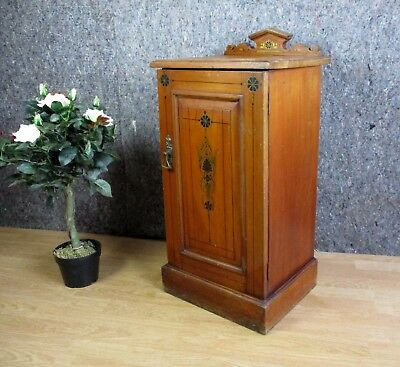 Edwardian Walnut Ornate Painted Pot Cupboard