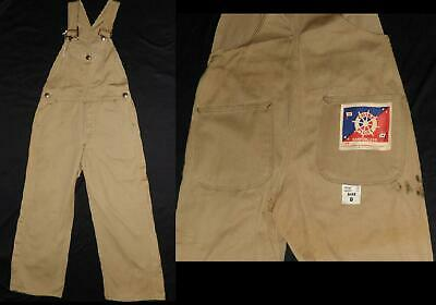 VTG 30s 40s CHILDS DENIM BIB OVERALLS JEANS CHIEF PILOT TRACTOR BUTTON NEW OLD 8