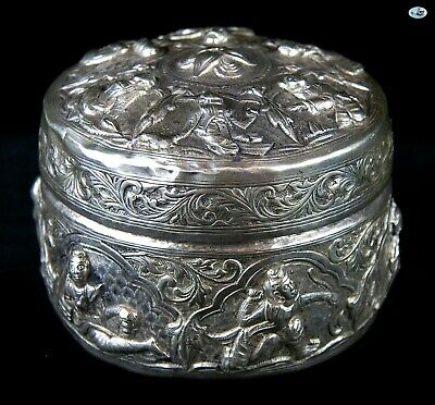 Antique 1800s Burmese Six Dancers Lion Silver Repoussé Bowl with Cover