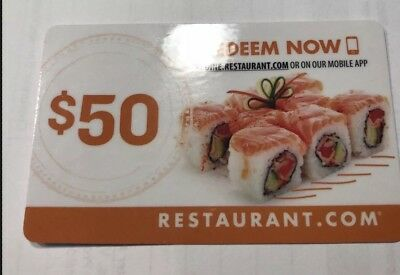 $100 RESTAURANT.COM Gift Card (2) $50 Gift Cards--Free Shipping---No Expiration!