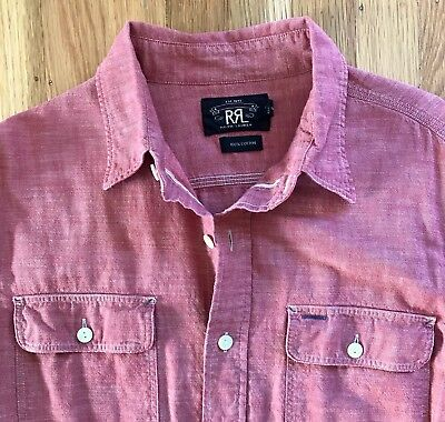 0c4cb2ce6a RRL (grail!) selvedge red chambray workshirt pearl shell cat eye buttons