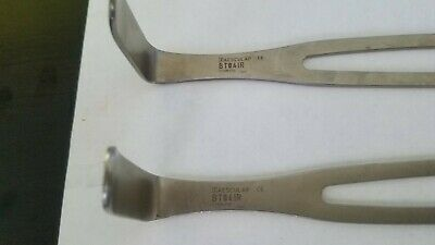 Lot of 2 Aesculap BT041R Double-Ended US-Army Surgical Retractor