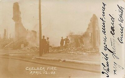 CHELSEA, MA ~ RUINS OF BUILDING AFTER 1908 FIRE, REAL PHOTO PC ~ used