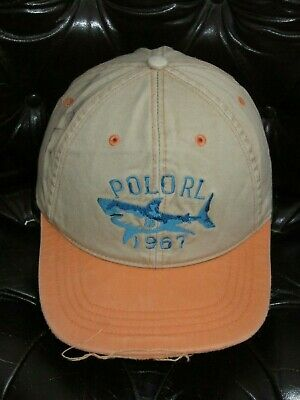 1076316a734 POLO RALPH LAUREN Orange Brown SHARK BASEBALL HAT Fishing Hiking Cap ONE  SIZE
