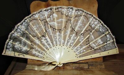 antique 19th century hand painted silk weave fan silver decor carved sticks