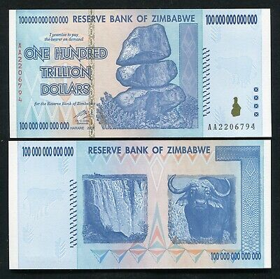 Zimbabwe 2008 100 Trillion Dollars Reserve Bank Of Zimbabwe, Aa P-91 Gem Unc