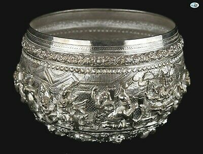 Rare Antique 1800s Large Heavy Burmese Myanmar Repoussé All Animals Silver Bowl