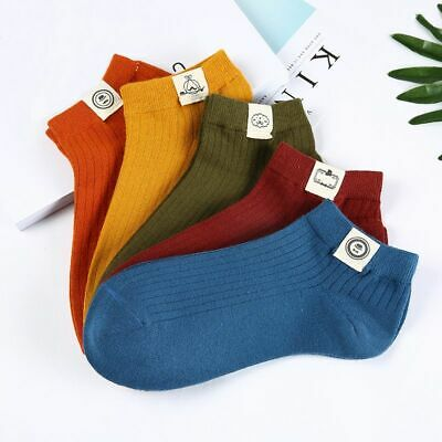 Men's Socks Street Style Cotton Short Breathable Funny Summer Ankle Type 5 Pairs