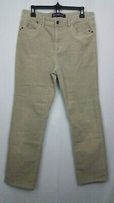 Gloria Vanderbilt Womens Tan Corduroy Pants Size 12 Stretch Flap Pockets