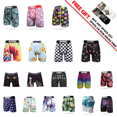 """PSD 3 or 6 pack Mens 6"""" Quick Dry Midway Long  Boxer briefs Underwear S-2XL"""