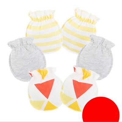 3 Pairs Sweet  Newborn Baby Protection Anti-Scratch Cartoon Mittens Gloves CB