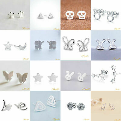 Uk 925 Sterling Silver Plt Ear Stud Earrings Butterfly Lady Girl Animal Flower