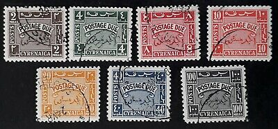 1950- Cyrenaica set of 7 Postage Due stamps with CTO cancels
