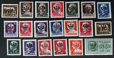 RARE 1944 Slovenia (German Occupation) lot of 20 Italian stamps Laibach O/Ps MUH
