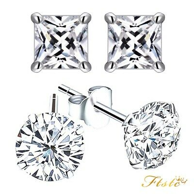 Women Men Crystal Sterling Silver Cubic Zirconia Stud Earrings Round Genuine925