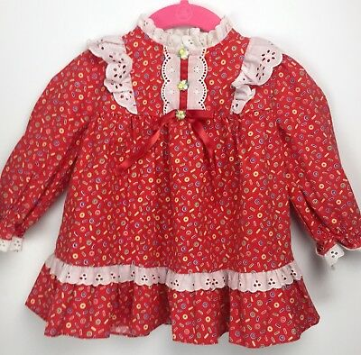 Vtg K.L.L. Baby Girls Red Dress White Eyelet Lace Approx 9mo |PipRose