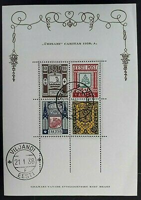 RARE 1939 Estonia Minisheet with 4 District Coat of Arms Charity stamps Used