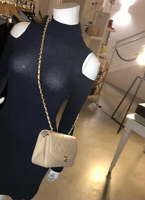 """8e7dc980cb6 Gorgeous 100% Auth CHANEL Beige Lambskin Quilted """"Diana"""" Single Flap  Crossbody"""