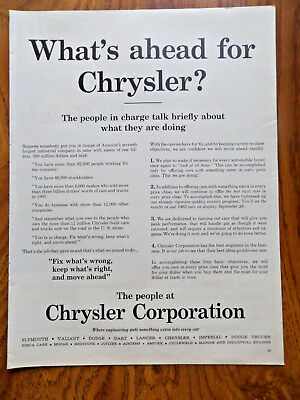 1961 Chrysler Plymouth Valiant Dodge Dart Lancer Imperial Ad What's Ahead for ?