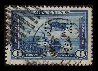 "CANADA 1938 VINTAGE SCARCE PERFORATED OHMS 6c #OC6 AIR MAIL ""STEAMER & MONOPLANE"