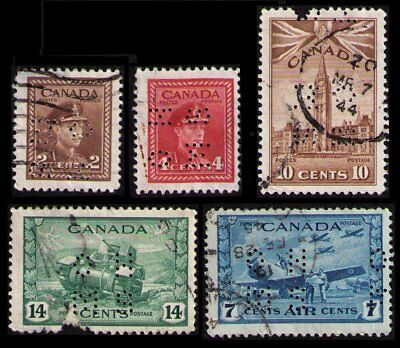 Canada 1942 Vintage War Issue Ohms Perfins 0250 0254 0257 0259 0C8 Faults (V773)