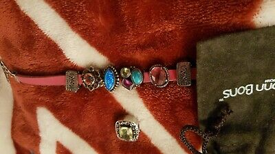 "LORI BONN STERLING SLIDE CHARM BRACELET 8"" Silver Leather Strap 5 Slide GemSTONE"
