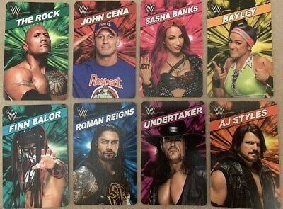 COMPLETE SET WWE Superstar Rumble With RFID The Rock Card Cards Dave & Busters