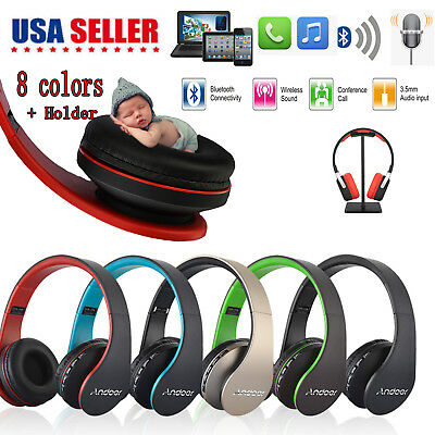 Bluetooth Headset Wireless Headphone Foldable w/Mic FM RADIO AUX MP3 PLAYER USA