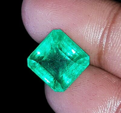 Square Shape 6.80 Ct Certified Natural Emerald Loose Gemstone Colombian