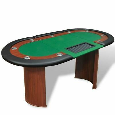 10 Player Casino Card Poker Games Table. Dealer Area. Chip Tray. Cup Holders