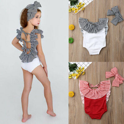 Newborn Kids Baby Girls Striped Bikini Set Swimwear Swimsuit Bathing Suit Beach