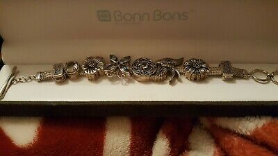 LORI BONN .925 STERLING SILVER SLIDE CHARM BRACELET WITH 8 CHARMS in box!