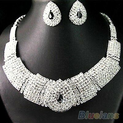 Wedding Party Bridal Black Diamante Crystal Necklace Earrings Set Jewelry