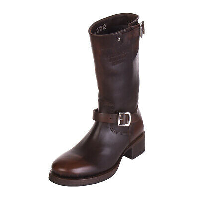 DSQUARED2 Leather Mid-Calf Boots Size 39 UK 6 Crumpled Burnished Made in Italy