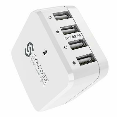 Syncwire 4-Port USB Wall Charger USB Plug US UK EU Travel Adapter for iPhone
